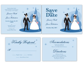Build Your Own Disney World Bride and Groom Wedding Invitation, Save the Date, or RSVP (Digital File)