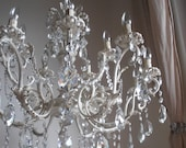 15 LIGHTS opulent Ivory GLASS repurposed crystal chandelier, authentic Italian vintage