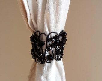 Decorative black Bohemian crystals curtain tiebacks, drapery holder tie backs curtain