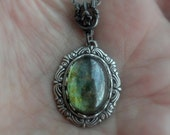 Victorian Necklace Forest Moss Green Luster Glass Antiqued Silver Victorian Jewelry