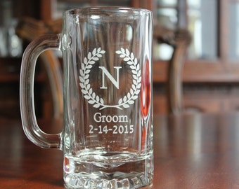 Set of 6 Engraved Beer Mugs, Groomsman Gifts, Groomsmen Beer Mugs, Beer Glasses, Beer Glass, Personalized Beer Mug, Engraved Beer Glass