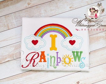 Girls Rainbow Shirts - I love Rainbows Embroidered Shirt - Custom Baby Girl Shirt - Baby Girl Outfit
