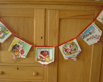 Garland of Excerpts from Vintage Night before Christmas Golden Book-4 1/2 feet -  Ready to Ship
