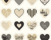 Lost and Found Love from Riley Blake - Full or Half Yard of Valentine Hearts Black - Cream Black Tan Modern Valentine