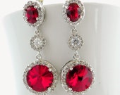 Siam Red Swarovski Bridal Earrings Cubic Zirconia Round Crystal Drop Long Earings for Wedding Bridesmaid Post Jewelry Maid of Honor Jewlry