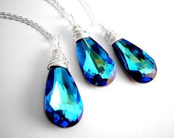 Navy Blue Necklace, Blue Bridesmaid Necklace, Bermuda Blue Swarovski Necklace, Blue Bridesmaid Jewelry, Wedding Teardrop Necklace, Blue Drop