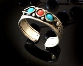 Band Ring,Turquoise Coral Ring,Adjustable,Mens ring womens ring Nepal Vintage Jewelry exclusive by Taneesi