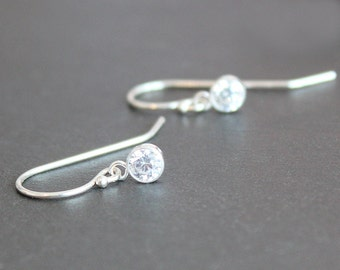 Earrings - Sterling Silver with 4mm CZ Diamond Drops - Fish Hook or Leverback Ear Wires - Bridal Jewelry