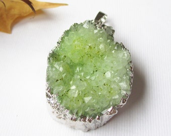 Green Druzy Geode Pendant - Edged Silver Teardrop - Natural Crystal Gemstone Pendant With Loop - DIY Etsy - With/Without Chain Druzy Gift