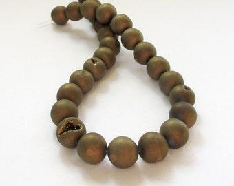 "Druzy Round Beads - Gold Bronze Titanium Pixie Dust - Coating Matte - Open Mouth Druzy Agate - Bulk Options - 12mm - 7.5"" DIY Craft Jewelry"
