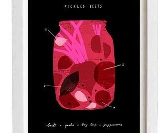 "Pickled Beets - Foodie art print - 11""x15"" - archival fine art giclée print"