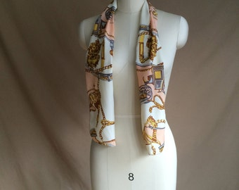 vintage 90's 1990's silk scarve scarf / lux / baroque fabric / gold tone jewel pattern print / pastel pink