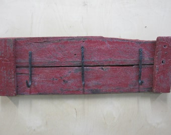 Rustic wood coat rack red reclaimed wood