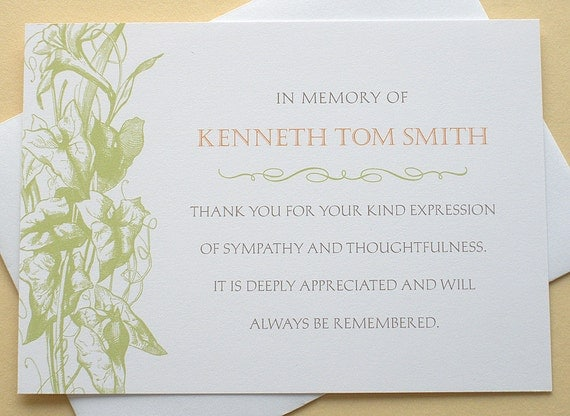 Thank You Condolence Cards Custom Vine of Green or Peach