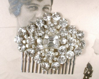1920s - 1930s Art Deco Rhinestone Bridal Hair Comb, Vintage Pot Metal Pave Crystal Brooch to OOAK Hairpiece, Great Gatsby Wedding Accessory