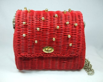 """Vintage Red wicker purse with chain handle 8 x 8 11"""" chain drop"""