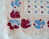 Vintage 1950's Bird and Cherries Tablecloth Pinks, Blues, Violet FREE SHIPPING