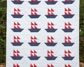 Baby Boy Quilt / New Baby Boy Gift / Sailboat Quilt / Patchwork Quilt / Traditional Pattern / Hand-Quilted / 42 by 50 inches / Navy and Red