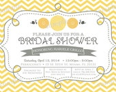 Zinnia Grey and Yellow Chevron Bridal Shower Invite -  DIY Digital, Printable Party INVITATION - 4x6 or 5x7