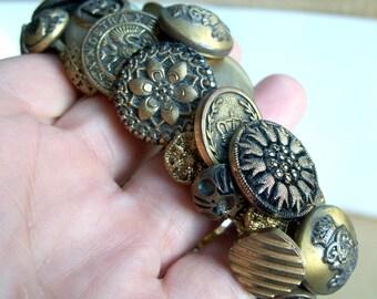 Antique Button Bracelet Glass Brass Metal Victorian Vintage Unusual
