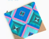 Hybrid Clutch // Geometric Foldover Clutch // Vegan Leather and Linen // Blue Green Pink