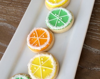 2 Dozen Juicy Citrus Mini Iced Sugar Cookies
