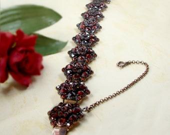 Gigantique Vintage opera garnet bracelet in Victorian style   ГРАНАТ