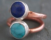 Lapis and Turquoise Ring With Hammered Copper Band