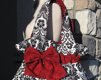 Over the Shoulder Purse in Black White and Red
