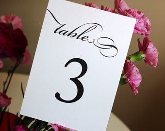 Classic Table Number Cards / Black and White Wedding Table Numbers / Pretty Script Table Numbers / Elegant Once Charmed Style Table Numbers