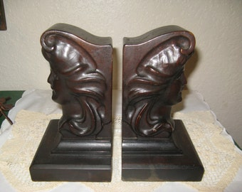 Antique Bookends Victorian 1900s Authentic Mahogany Collectable Bookends Rare Item, Home and Living, Home Decor, Bookends, Antique