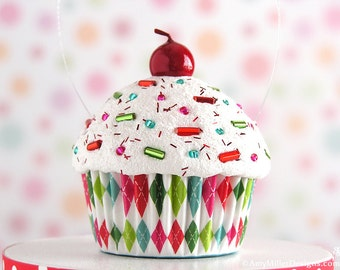 Cupcake Christmas Ornament - Mini Multi Color Argyle  #CUP215