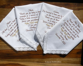 Embroidered Wedding Handkerchief Wedding Hankys, Gift Mother of the Bride & Mother In Law Wedding Gifts Canyon Embroidery