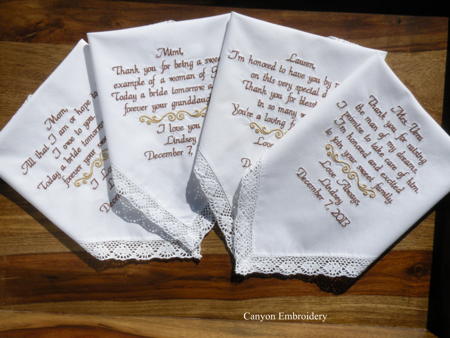Wedding Handkerchiefs For The Family: Embroidered Wedding Handkerchief Wedding Hankys, Gift