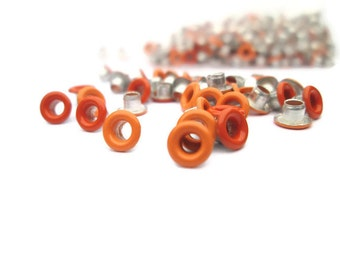 Orange Eyelets, 1/8 inch, Light Orange, Scrapbooking, 200 Eyelets, Round Metal, Eyelets, Orange Round, Scrap Booking
