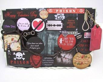 Valentines Day Card, Gothic Greeting Card, Hand Cuffs, Valentine Decoration, 21, Anti Valentines, Valentines Heart, Funny Valentine, Collage
