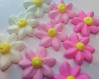 Lot of 100 royal Icing mini daises Flowers for Cake Decorating