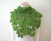 Grass Green Shawl - Floral Flower Triangle Cowl, Neckwarmer, Scarf - Gift for Her - Shiny Crochet Shawl - Ready to Ship