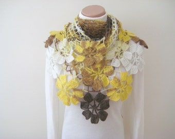 Fall Fashion - Crochet Shawl - Brown Yellow Cream Scarf Flower Floral Triangle Accessories - Gift for Her Gift for Mom - Ready to Ship
