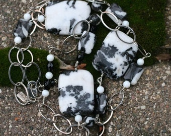 Special Set Sale Price with Bracelet One of a Kind, Black Onyx, Zebra Jasper, and Mother of Pearl, w/ Large Sterling Silver Link, Necklace