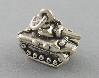 Sterling Silver 925 Charm Pendant 3D ARMY TANK Military