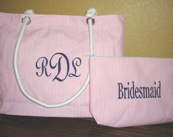 Personalized Bridesmaid Gift Tote Bag and Cosmetic Bag Gift Set **SALE**, Mother of The Bride, Mother of the Groom, Bridesmaids Gifts
