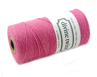 SOLID Bakers Twine 240 yard spool - DARK CARNATiON PINK twine - string for crafting, gift wrapping, packaging, invitations