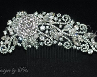 SALE Bridal Hair Comb Wedding Hairpiece. Bridal Silver Gold Tone Rhinestone Comb with Swarovski White or Cream Pearls