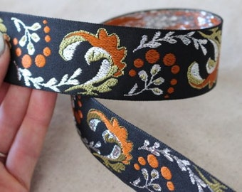 Adrea's Plume Jacquard ribbon in RUST, SILVER and GOLD
