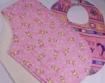Baby Burp and  Bib Set, Gift for New Baby Girl, Pink Sweet Stock,