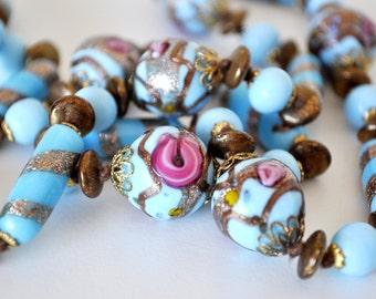 Venetian Glass Wedding Cake Beaded Necklace