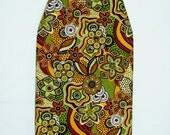 Padded Table Top Ironing Board Cover -  For Dorm Room - Native Arts fabric - Greens, Golds, and Browns
