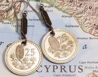 Cyprus, Vintage Coin Earrings --- Hug a Tree --- Eco Vacation - World Travel - Old Growth Forest - World Treasures - Earth Day - OOAK