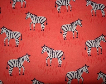Mini Zebras Coral Fabric by Michael Miller - 1  Yard